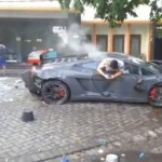 Siêu xe Lamborghini Gallardo và Ferrari tai nạn nặng nề