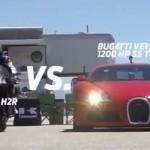 Siêu xe máy Kawasaki Ninja H2R đọ sức cùng siêu xe Bugatti