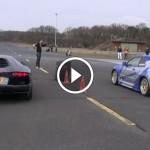 Màn đọ tốc độ giữa siêu xe Lamborghini Aventador và Nissan GTR
