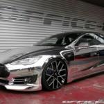 Xe siêu sang Tesla Model S độ vỏ chrome sáng bóng