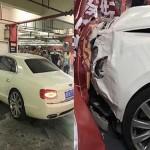 Người phụ nữ quên phanh xe khiến xe siêu sang Bentley lao đầu vào tường