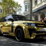SUV siêu sang Range rover độ Mystere vàng óng trên phố