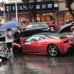 Nữ tài xế thuê siêu xe Ferrari tông BMW X3 và Mercedes S500 hỏng nặng