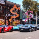 Dàn siêu xe khủng nẹt pô chúc mừng Cường đôla khai trương nhà hàng