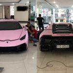 Đại gia Bạc Liêu độ siêu xe Lamborghini Huracan màu hồng