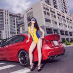 DJ Summer Huỳnh tạo dáng bên xe sang BMW 3 series độ đẹp