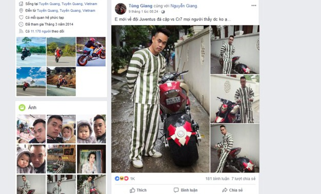 Tùng Giang mặc quần áo phạm nhân
