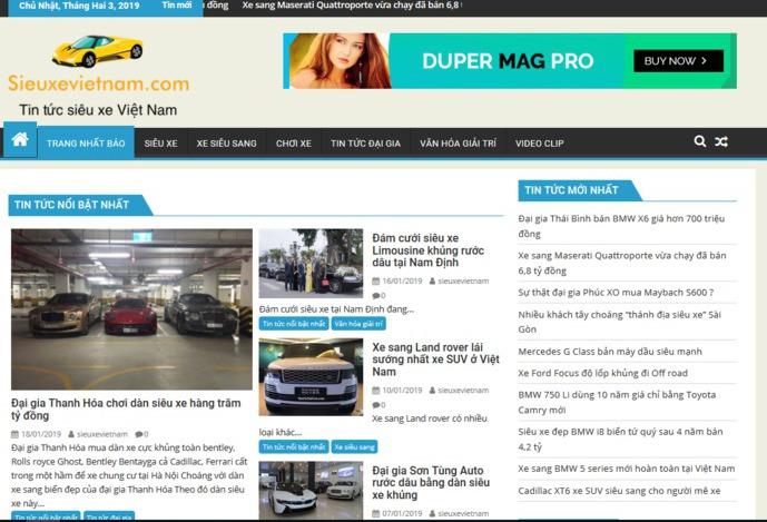 Sieuxevietnam chuyên trang tin tức siêu xe hấp dẫn nhất Việt Nam